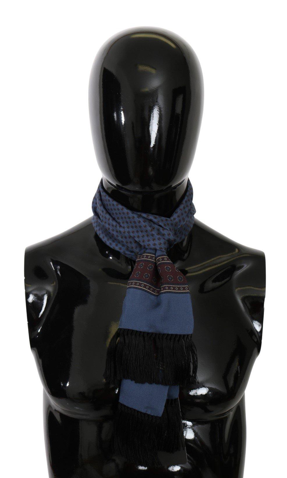 Dolce & Gabbana Men's Baroque Fringe Wrap Silk Scarf Blue MS5565