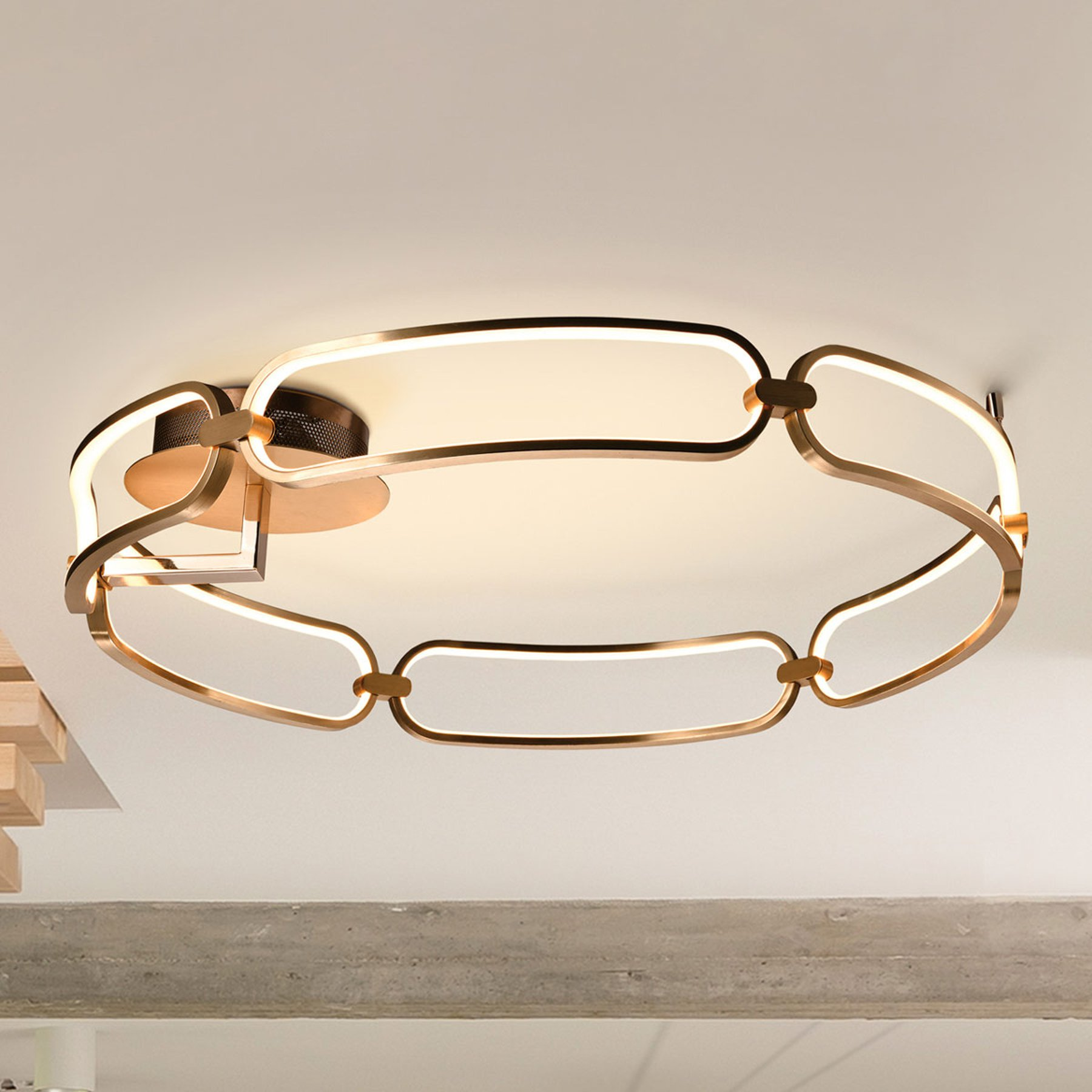 LED-taklampe Colette, 6 lyskilder, rosegull