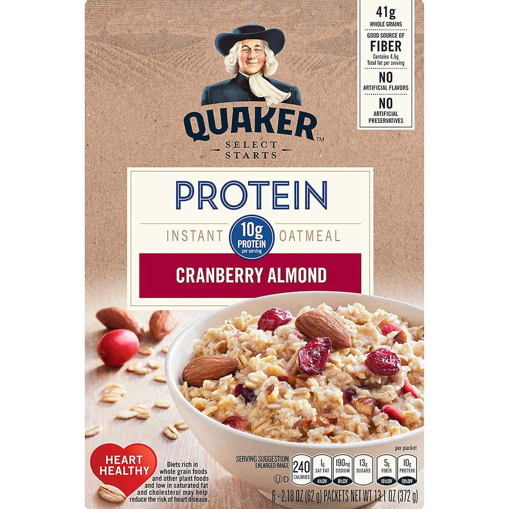 Quaker Instant Oatmeal Protein Cranberry Almond 372g