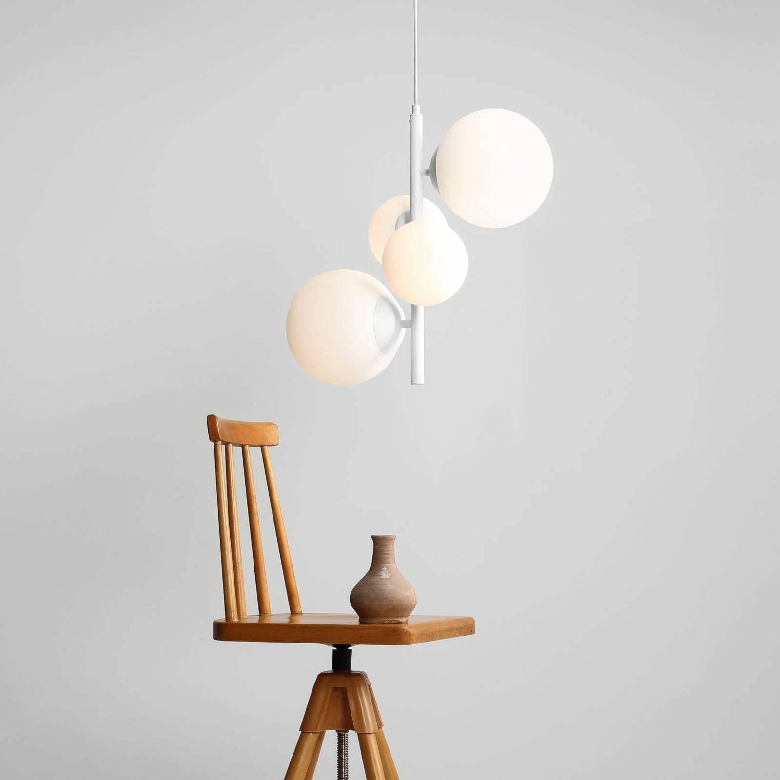 Riippuvalaisin Bloom, 4-lamppuinen, valkoinen