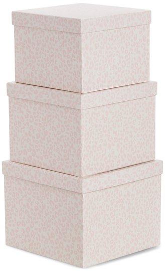 Alice & Fox Oppbevaringskasser 3-pack, Pink Leopard