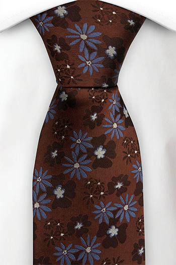Silke Slips, Rustrød med blå blomster, Rød, Blomstrete, Notch KANALJE RUSTY RED