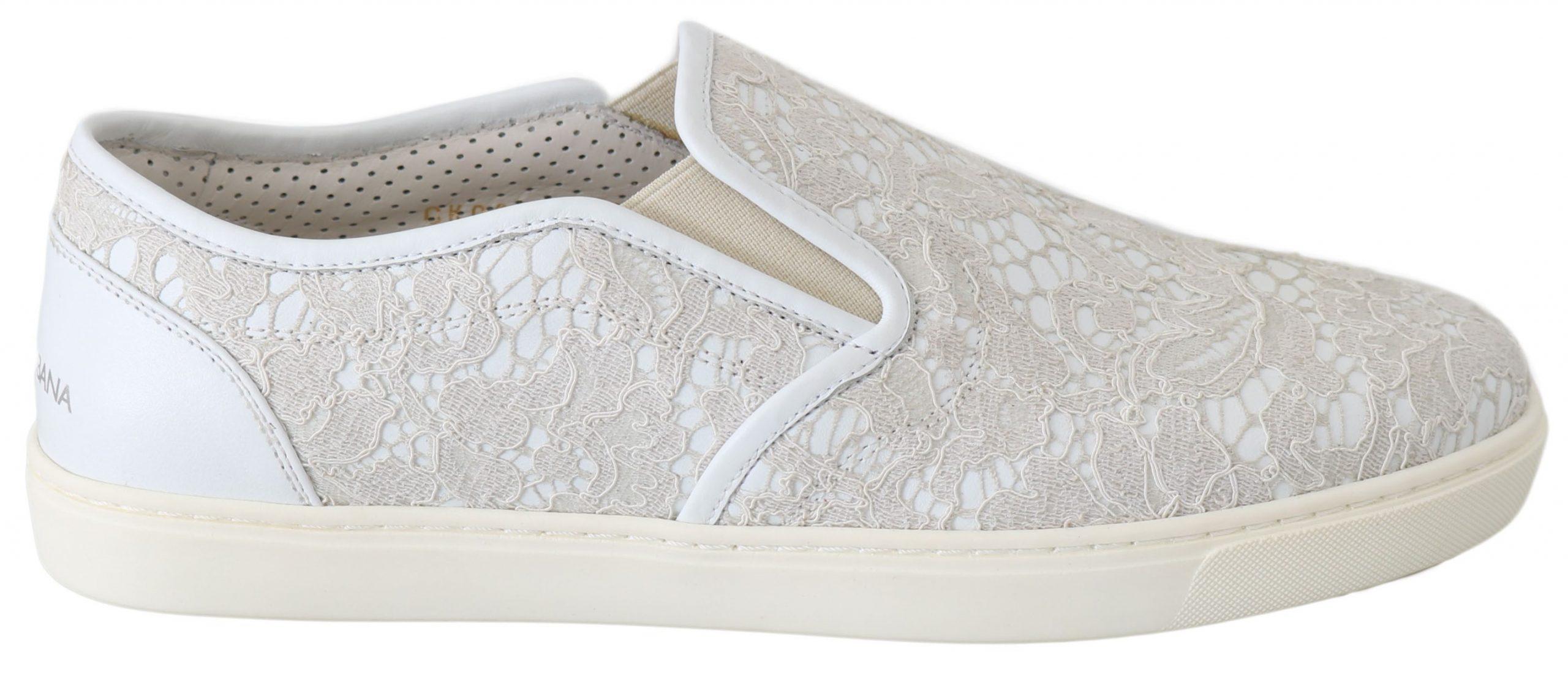 Dolce & Gabbana Women's Leather Lace Slip On Loafers White LA5969 - EU35/US4.5