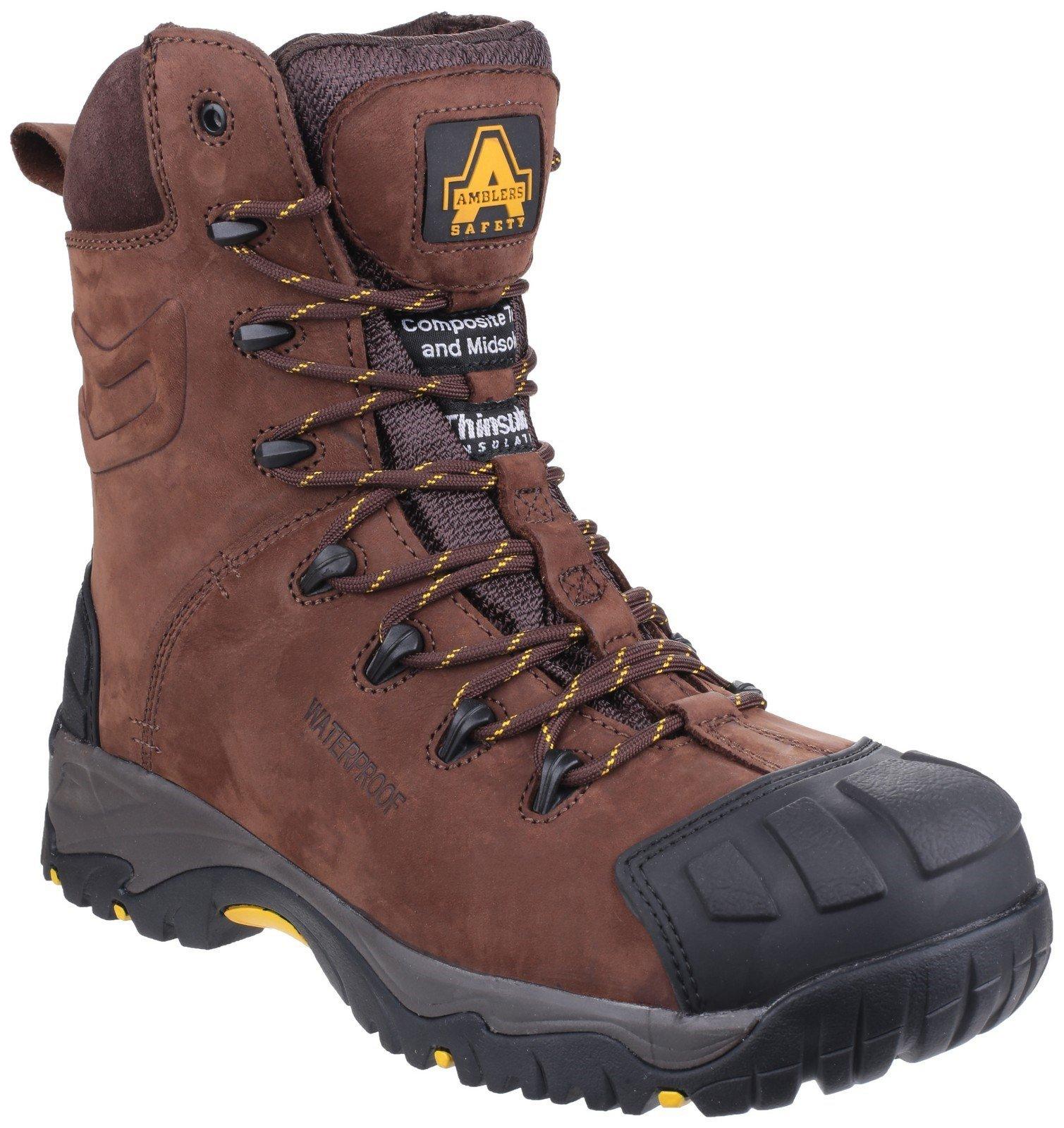 Amblers Unisex Safety Pillar Waterproof Hi-leg Lace up Boot Brown 24196 - Brown 6