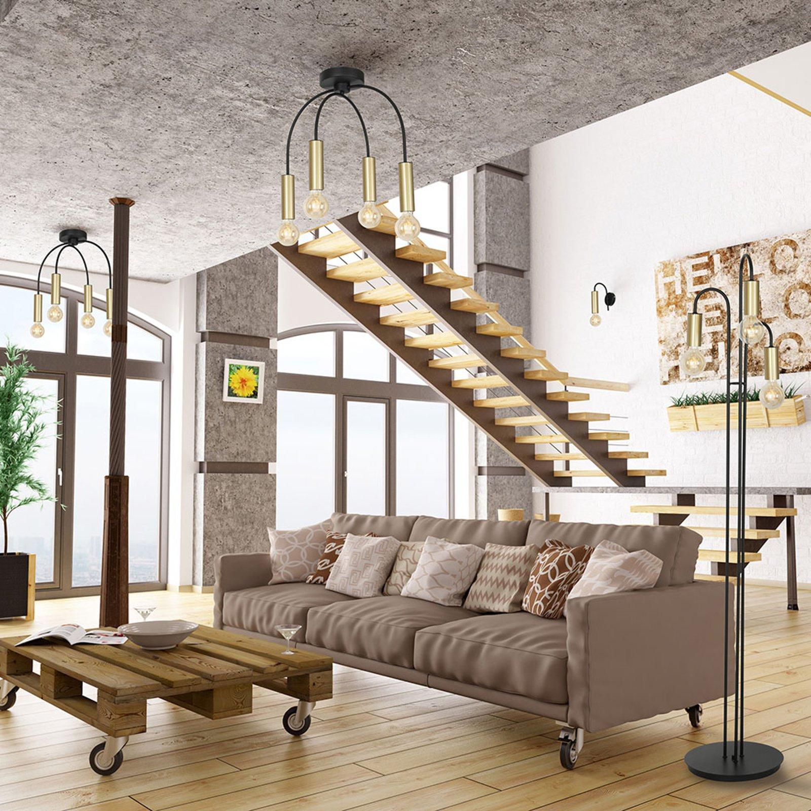 Loppe taklampe, 4 lyskilder, svart/gull