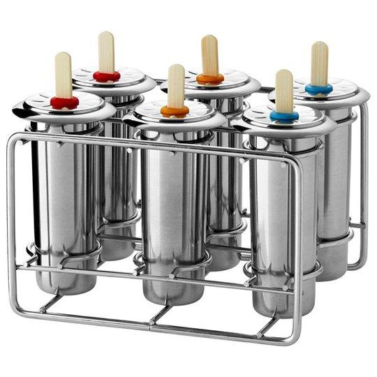 Pulito Glassform Rostfritt stål - Rund, 6 st + Ställning