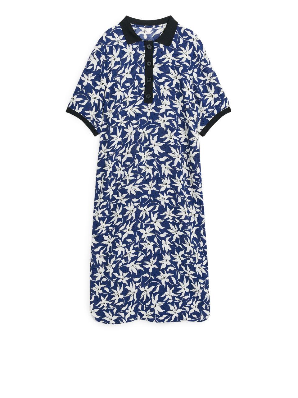 Floral Polo Dress - Blue