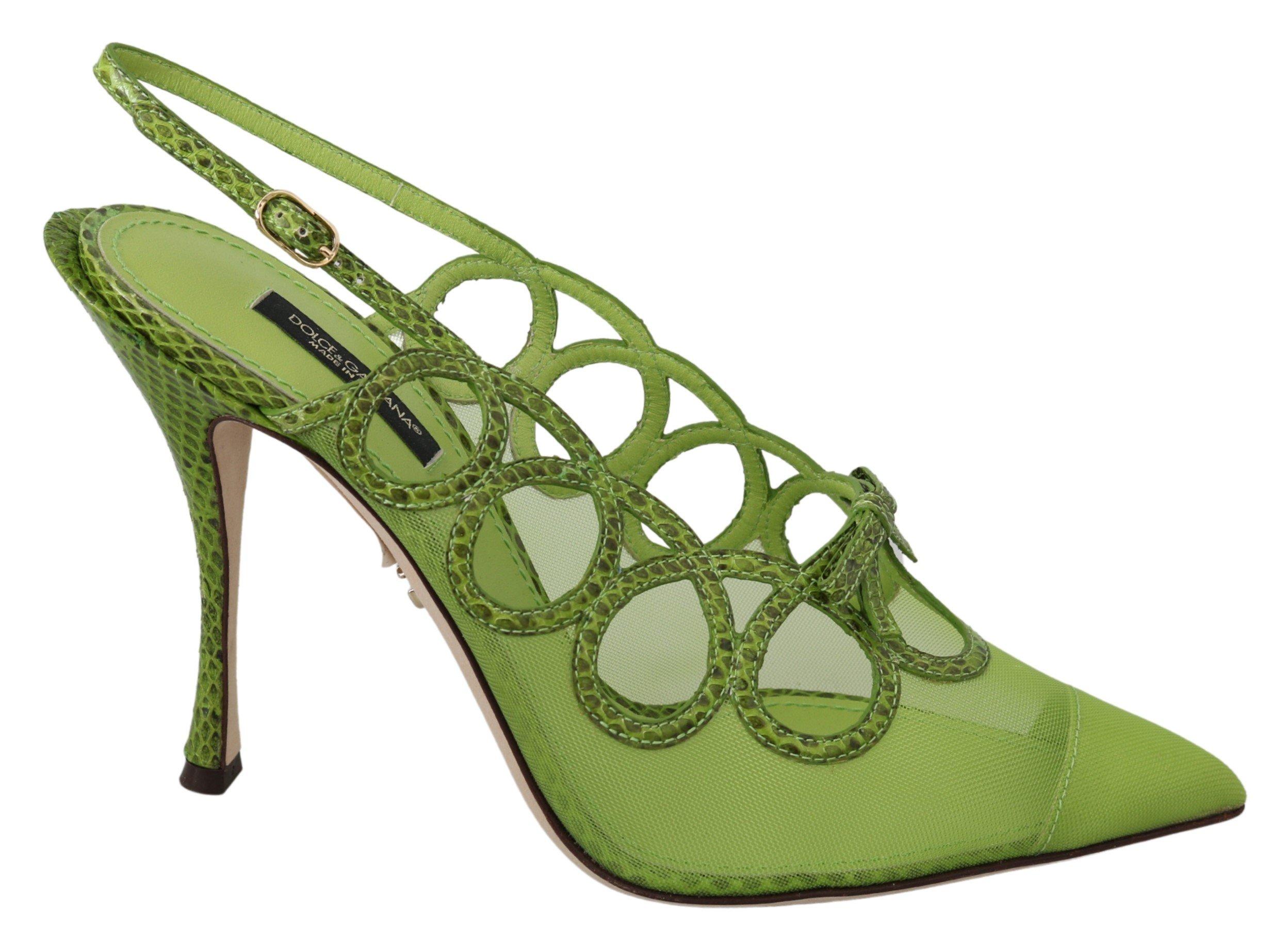 Dolce & Gabbana Slim High Slingbacks Leather Pumps Green LA6827 - EU39/US8.5