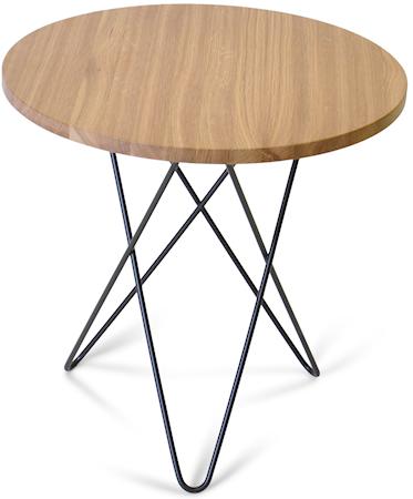 Tall mini O table wood Oak black frame