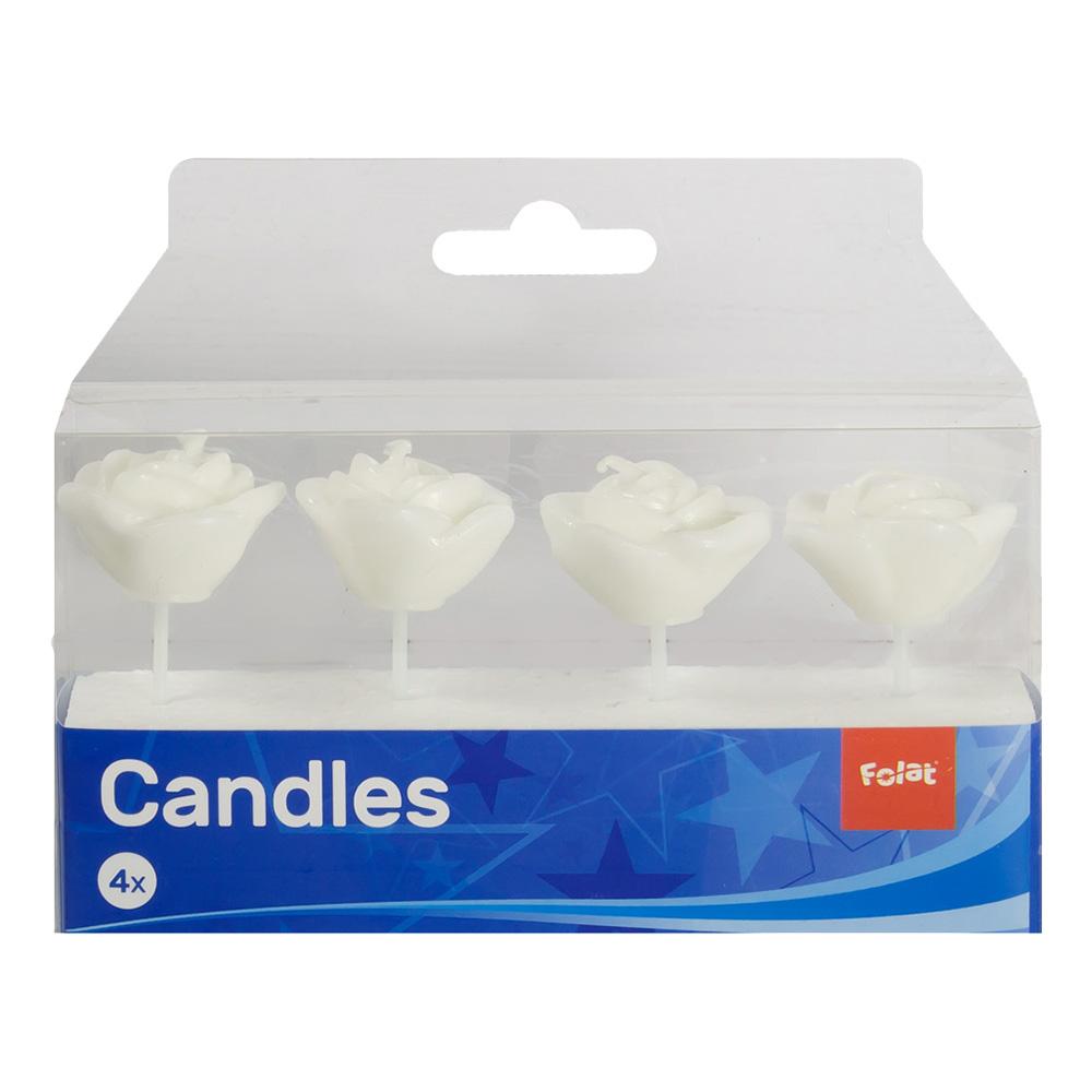 Tårtljus Rosor Vita - 4-pack