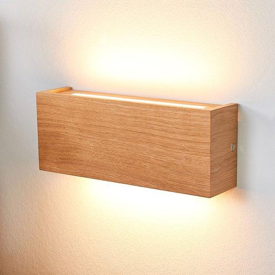 Dimbar LED-vegglampe Mila i eik, 25 cm