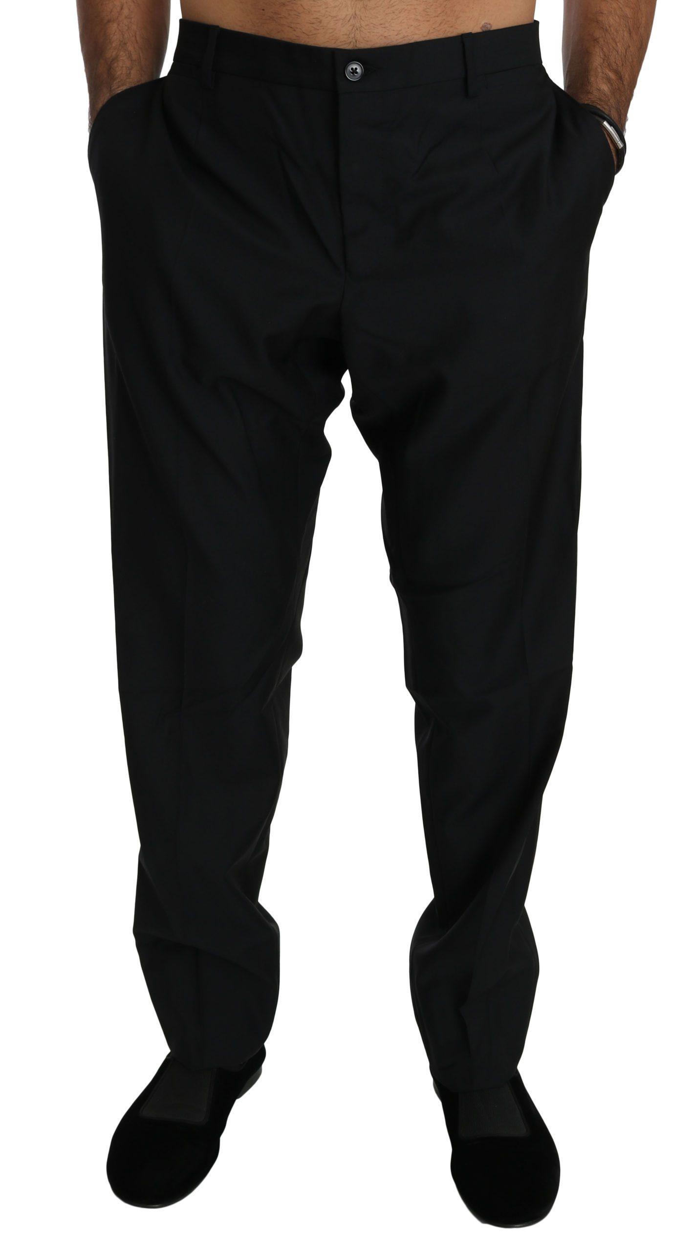 Dolce & Gabbana Men's Formal Wool Trouser Black PAN70766 - IT56   XXL