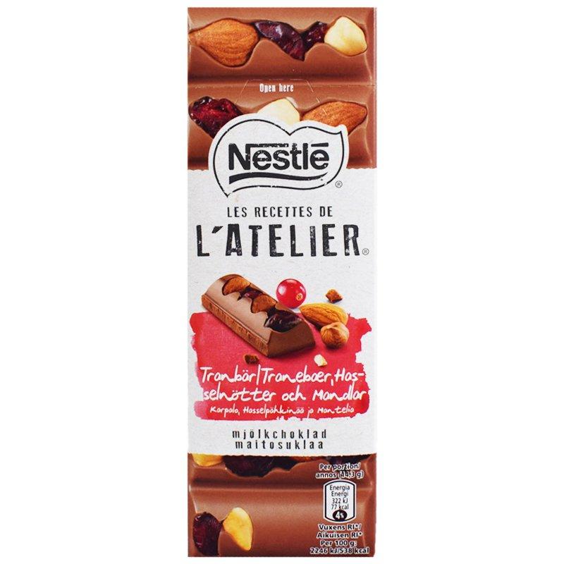 """Mjölkchoklad """"Tranbär, Hasselnöt & Mandel"""" 100g - 80% rabatt"""