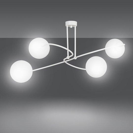 Taklampe Selbi 4 med glasskuleskjermer, hvit