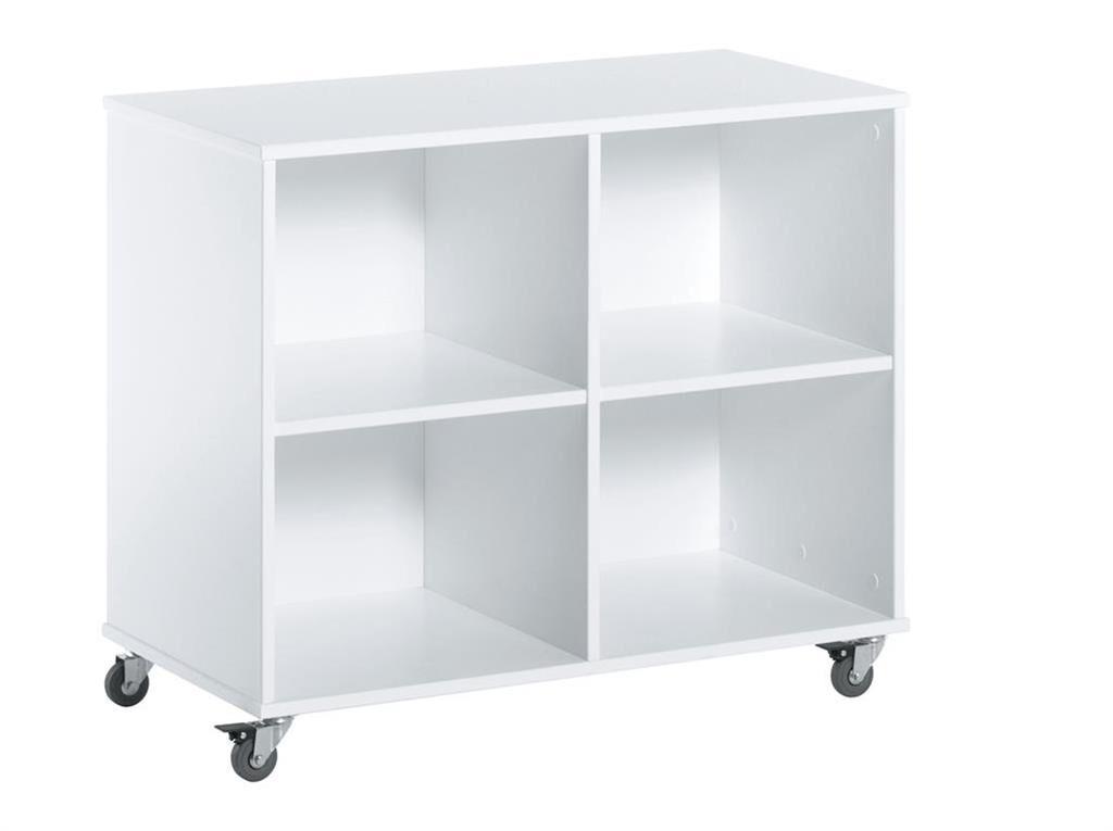 Hoppekids - 70' Bookcase On Wheels - White