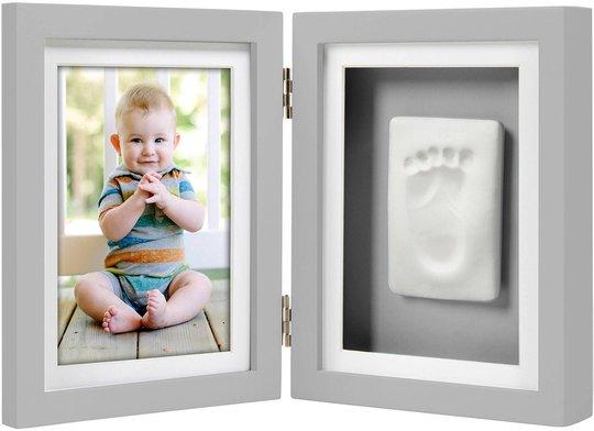 Pearhead Babyprints Fotoramme Dobbel Ledad, Grå