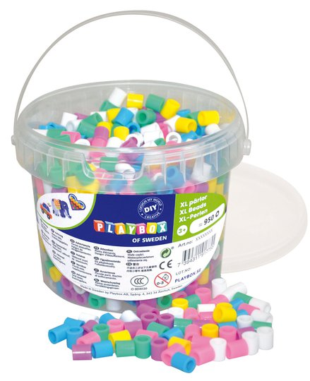 Playbox Rørperler XL Pastell I Bøtte 950 Stk