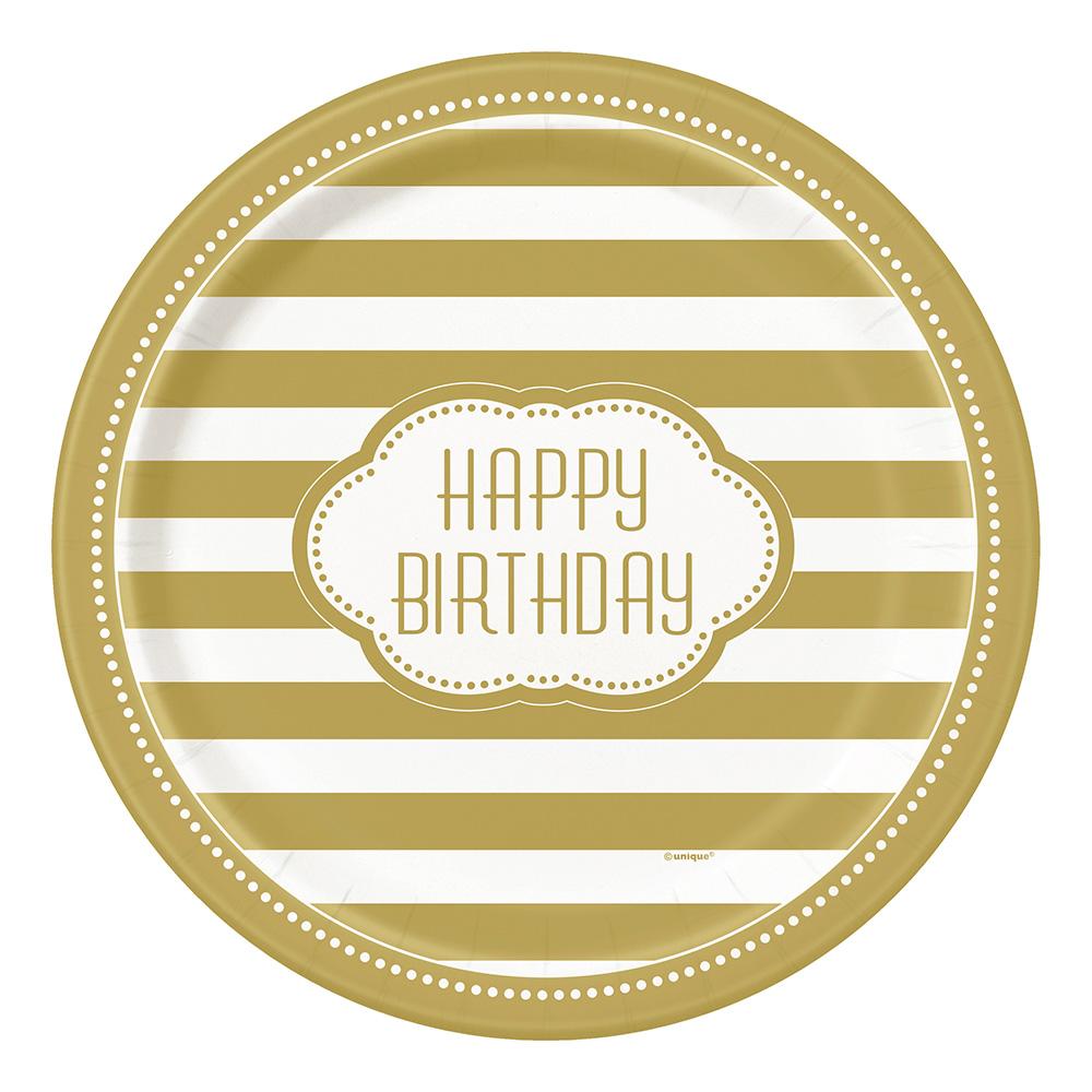 Papperstallrikar Happy Birthday Guld - 8-pack