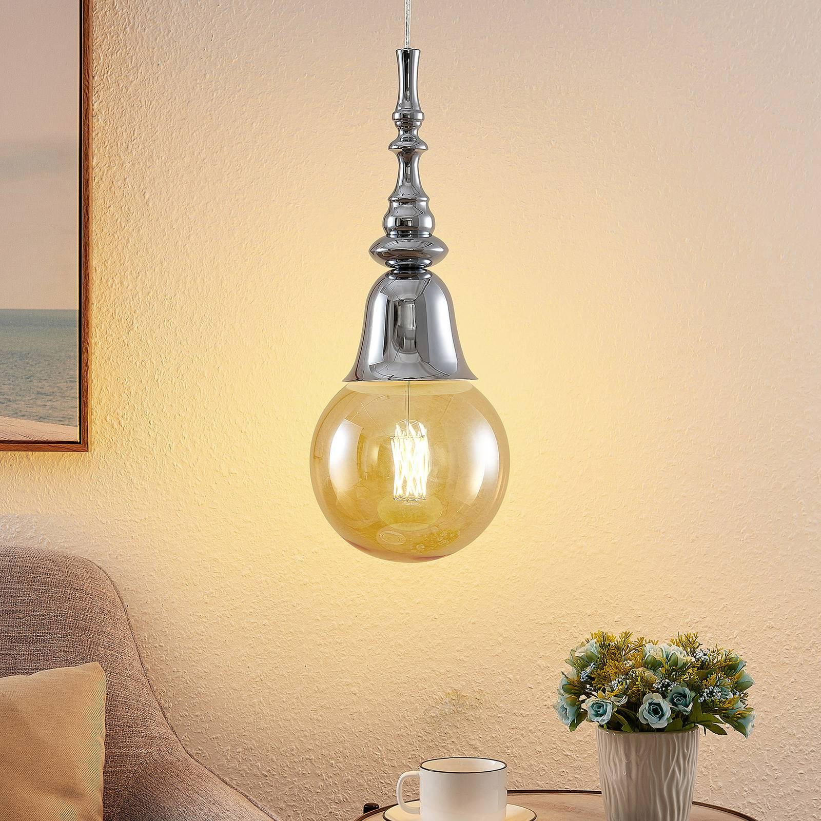 Lucande Gesja -riippuvalo, 1-lamppuinen, kromi