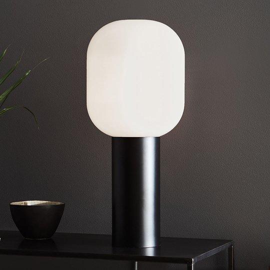 Bordlampe Brooklyn, glass-skjerm opalhvit, 56 cm