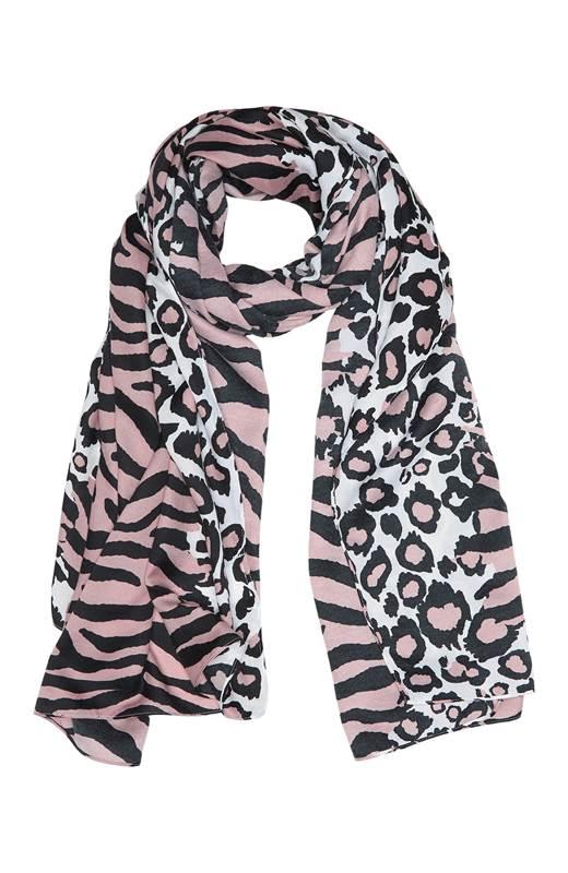 Cellbes Djurmönstrad scarf Svart Vit Rosa