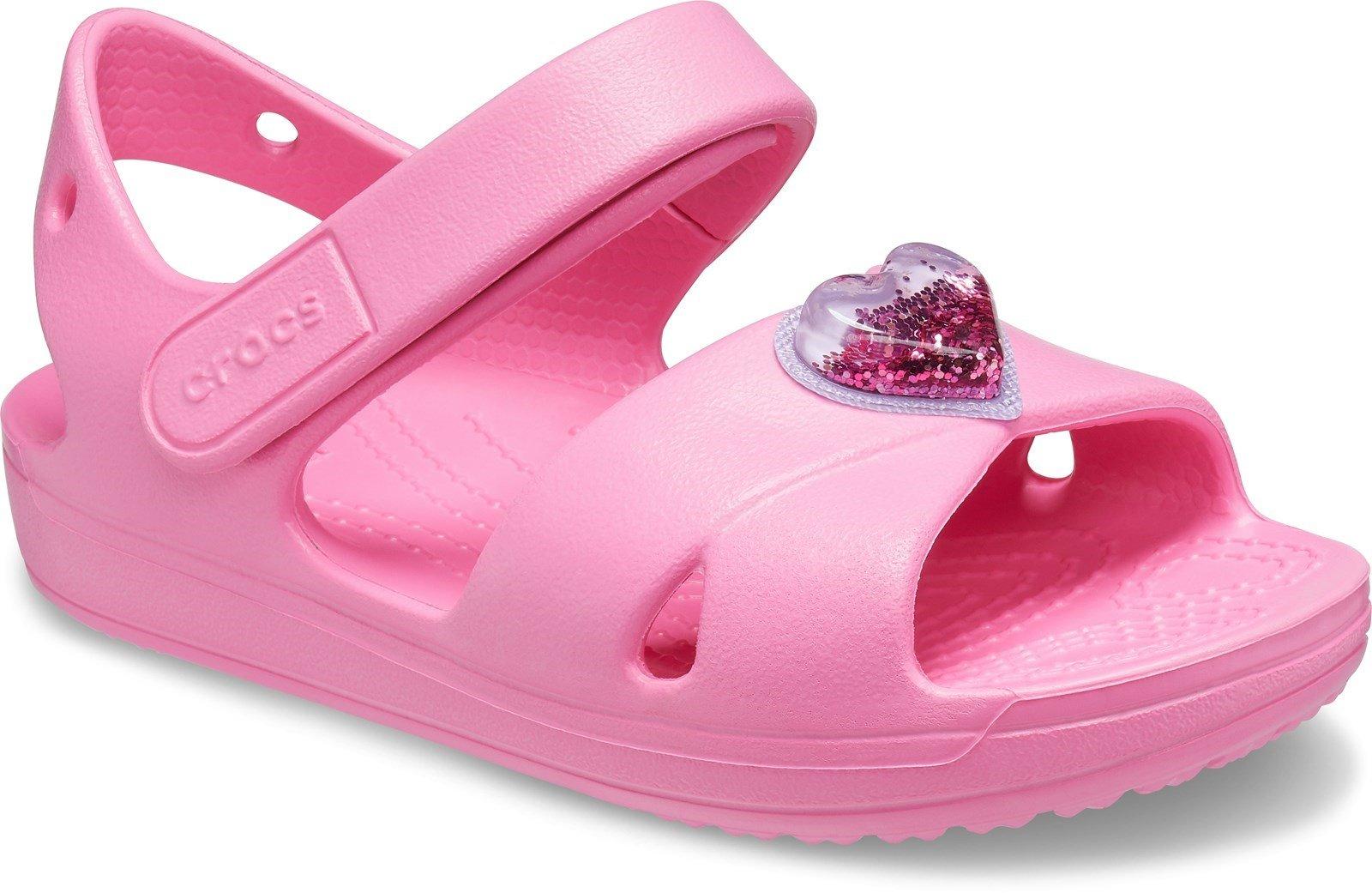 Crocs Kid's Classic Cross Strap Charm Sandal Various Colours 31879 - Pink Lemonade 4