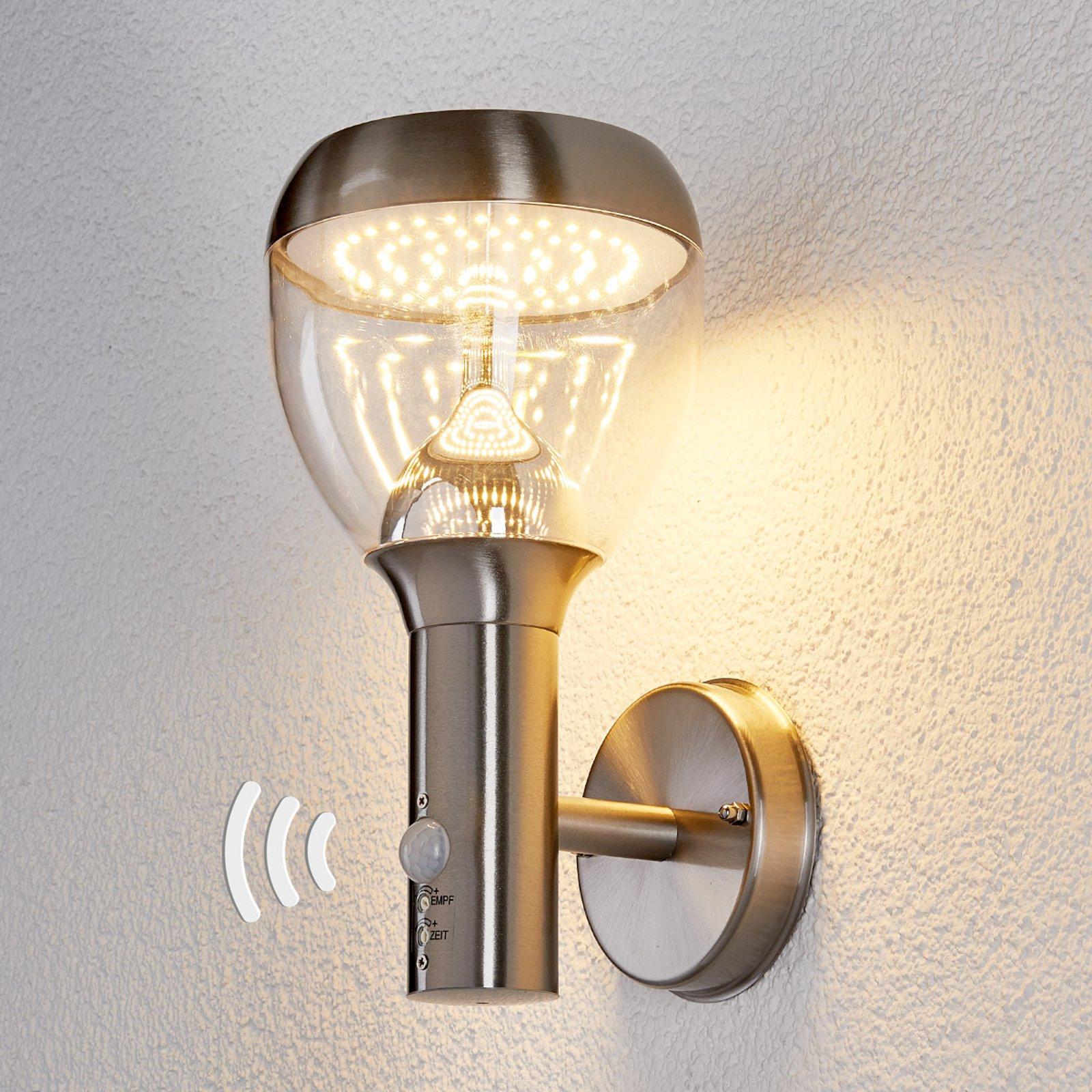 Sensor utevegglys Etta i rustfritt stål, LED