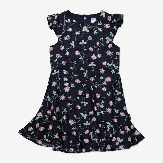 Kjole med kløverblomster mørkblå