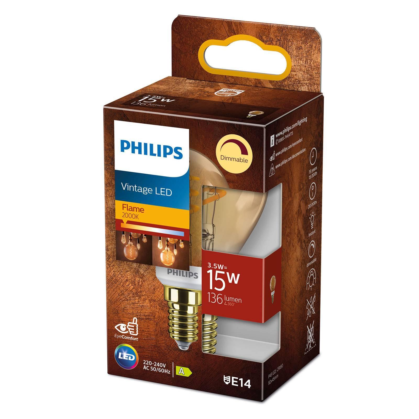 Philips LED Classic E14 P45 3,5W 2 000 K gull dim