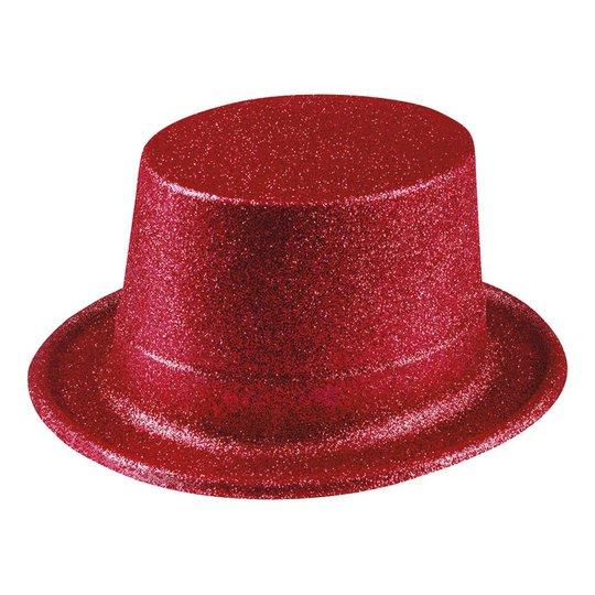 Glitterhatt Röd - One size