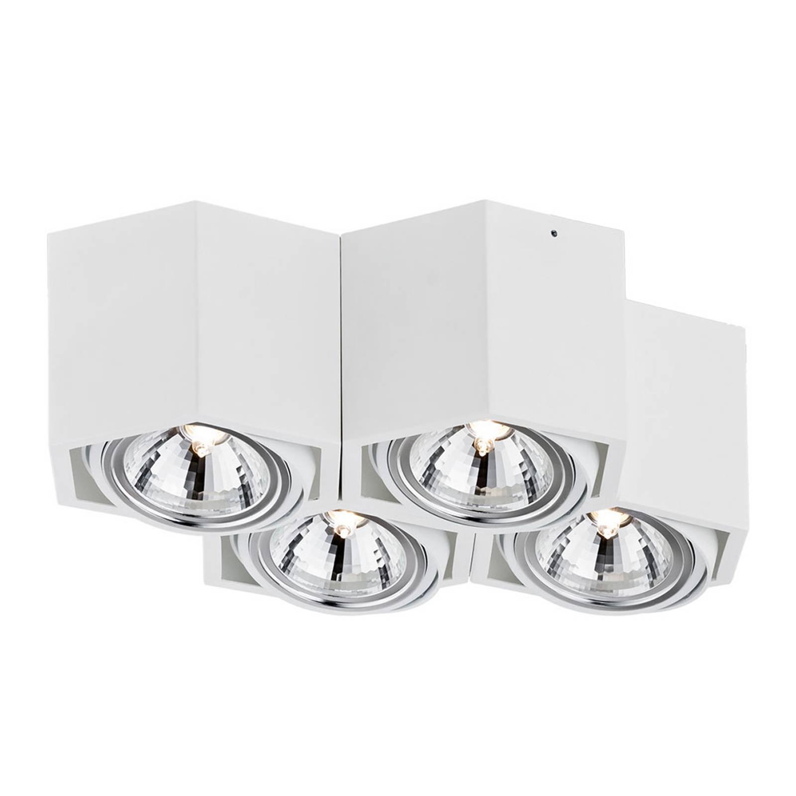 Kattospotti Elvas kääntyvä 4-lamppuinen valkoinen