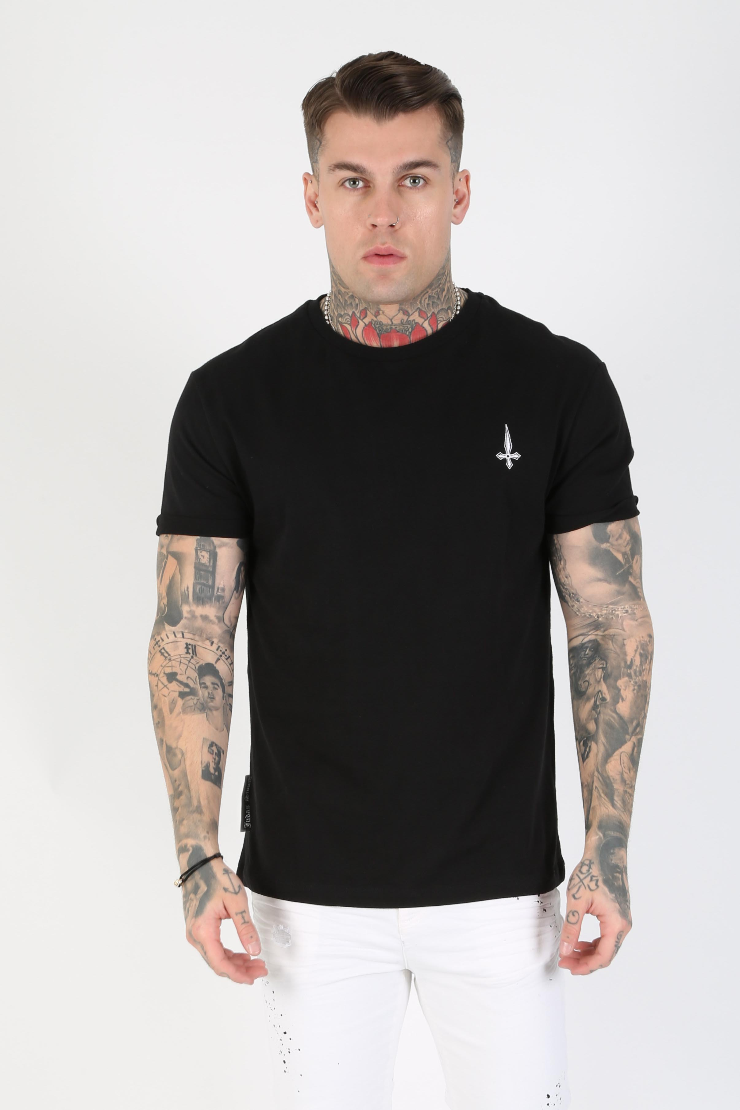 Mid Embroidery Loose Fit Men's T-Shirt - Black, Large