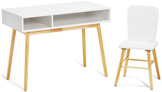 Alice & Fox Skrivebord og Stol, Hvit/Natur