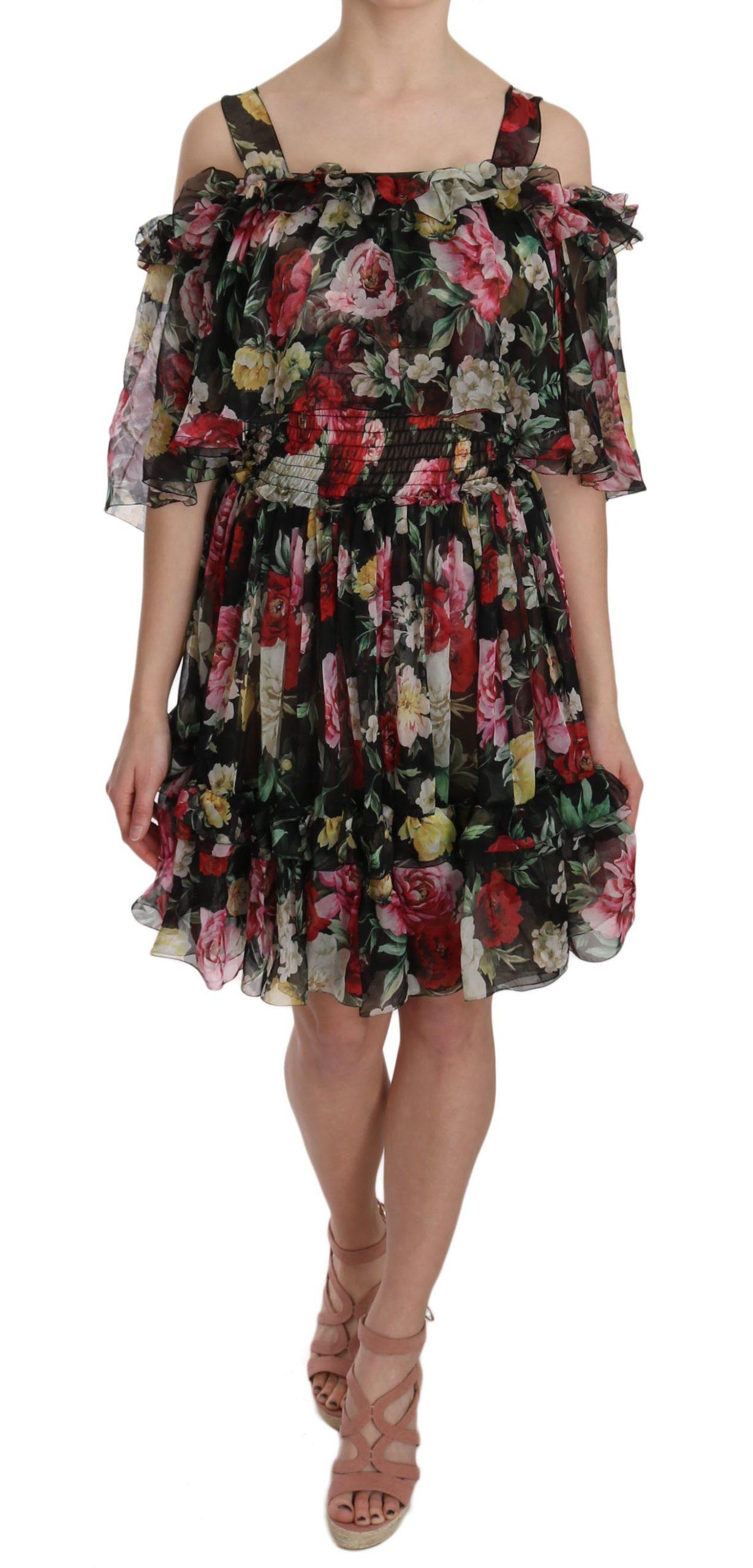 Dolce & Gabbana Women's Chiffon Floral Mini Dress Multicolor DR1622 - IT38 XS