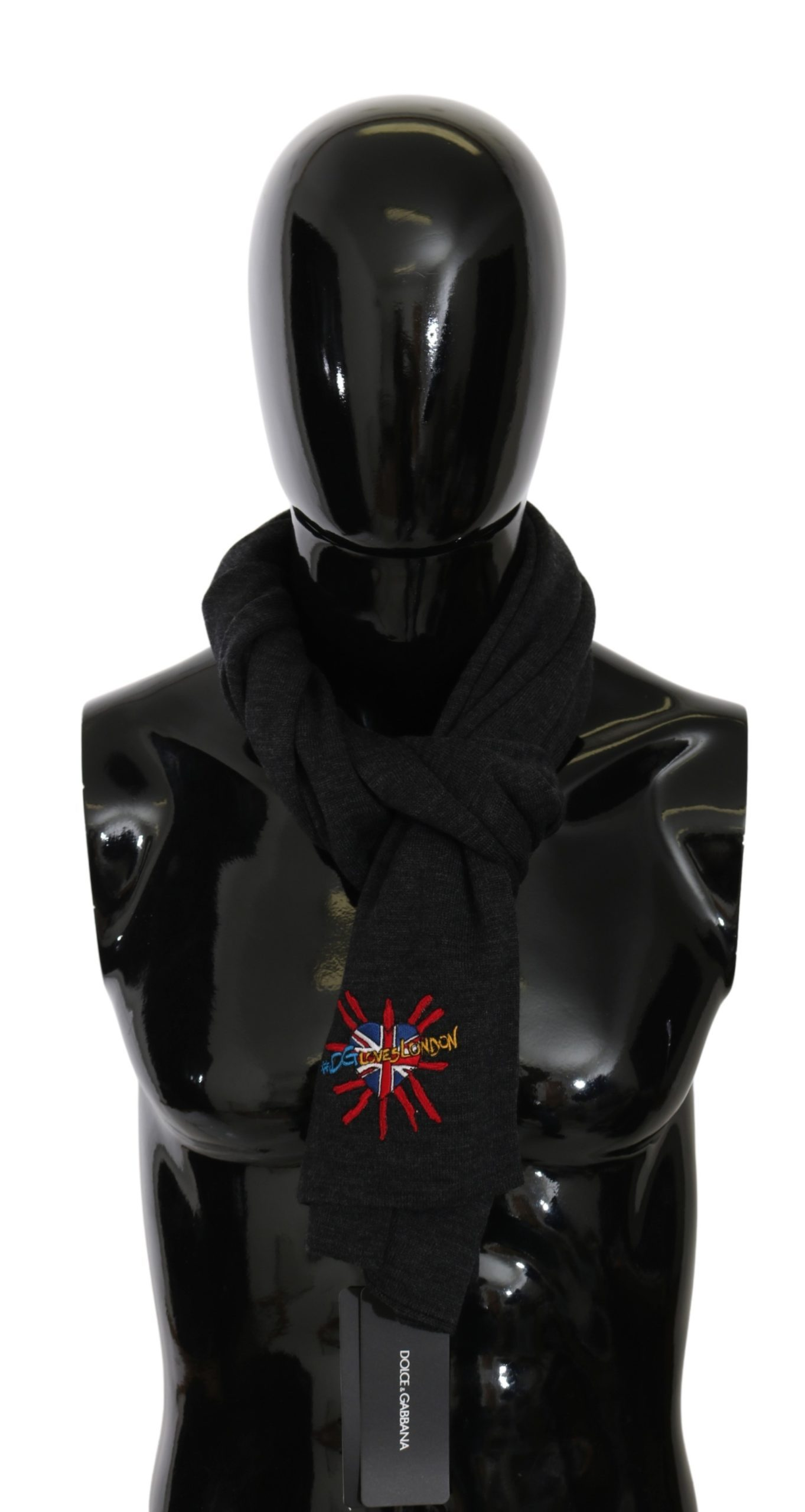 Dolce & Gabbana Wo men's#DGLovesLondon Wool Wrap Wool Scarf Black MS5640