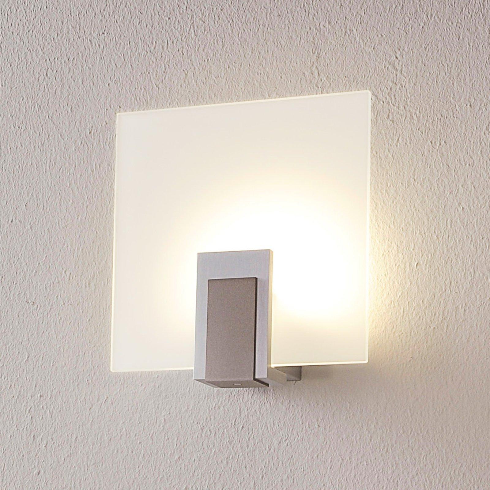 Vegglampe Sara av glass med LED-lys og bryter