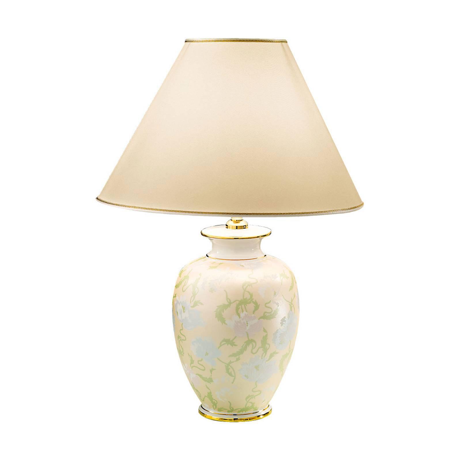 Bordlampe Giardino Perla, håndmalt, Ø 40 cm