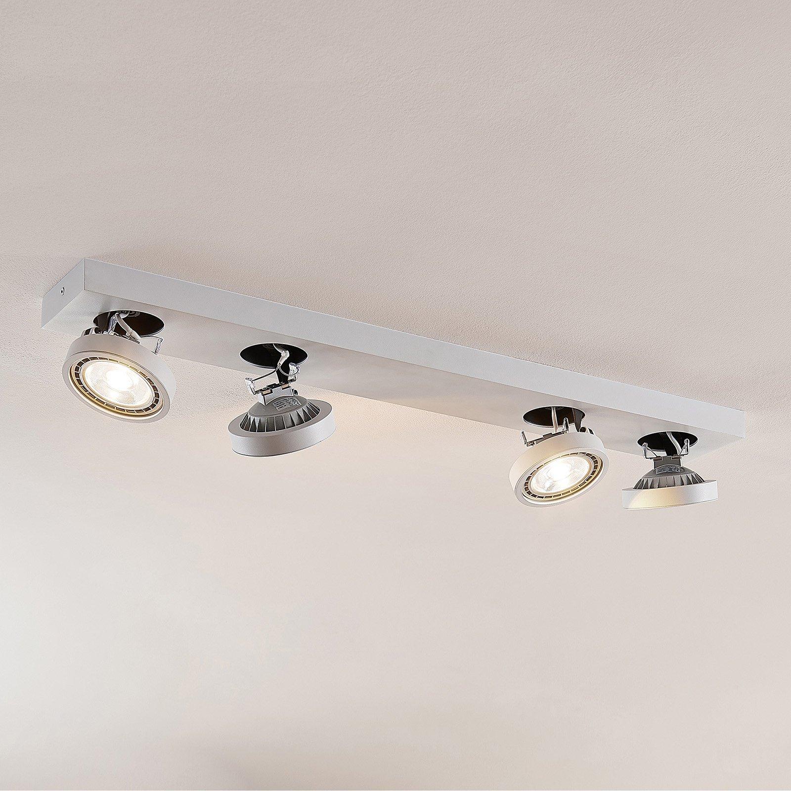 LED-taklampe Negan i hvit, 4 lyskilder