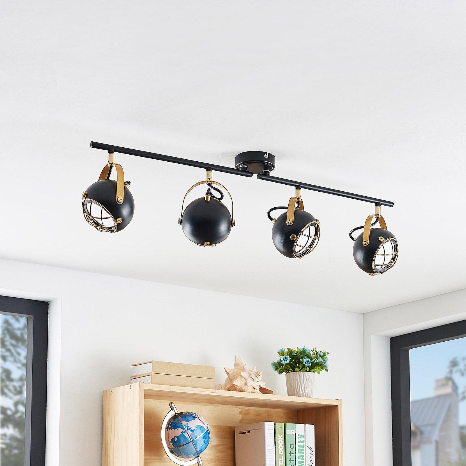 Lindby Dawid LED-taklampe, gulldekor, 4 lyskilder