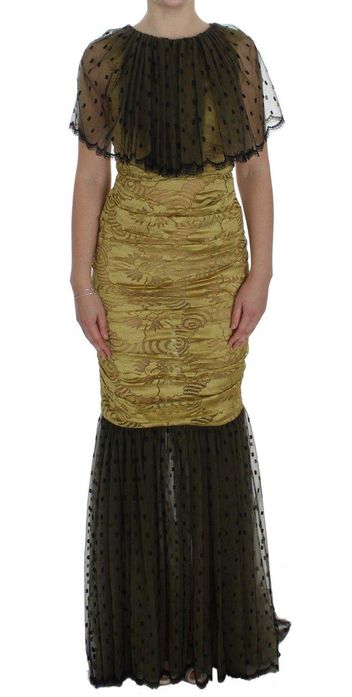 Dolce & Gabbana Women's Floral Lace Ricamo Gown Dress Yellow NOC10176 - IT40|S
