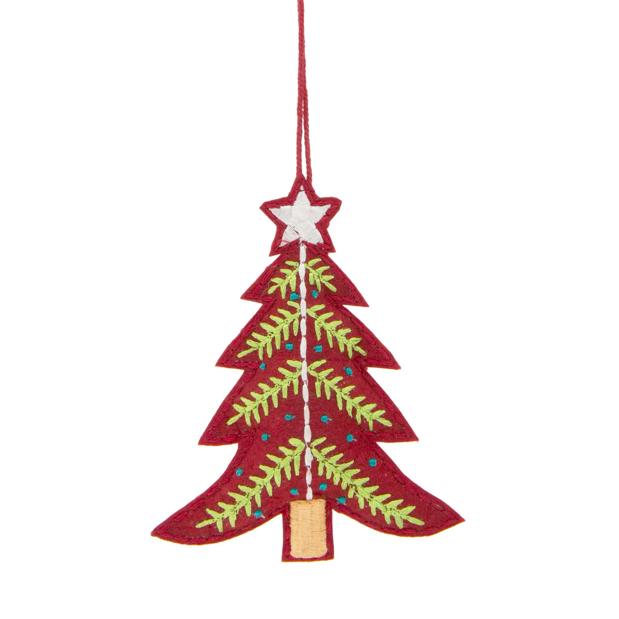 Ornament Broderad Julgran 13 cm