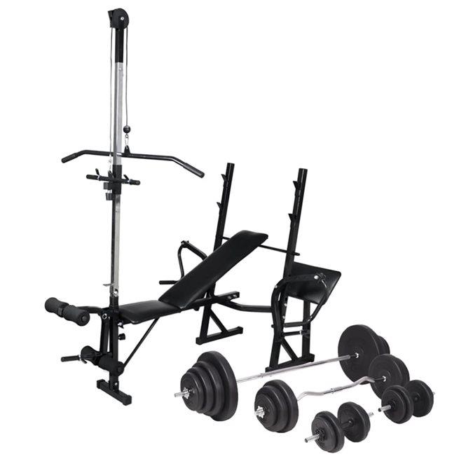 vidaXL Träningsbänk set viktställning skivstång och hantlar 120 kg