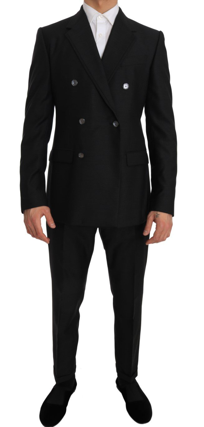 Dolce & Gabbana Men's Wool Silk Double Breasted Slim Fit Suit Gray JKT1235 - IT48   M