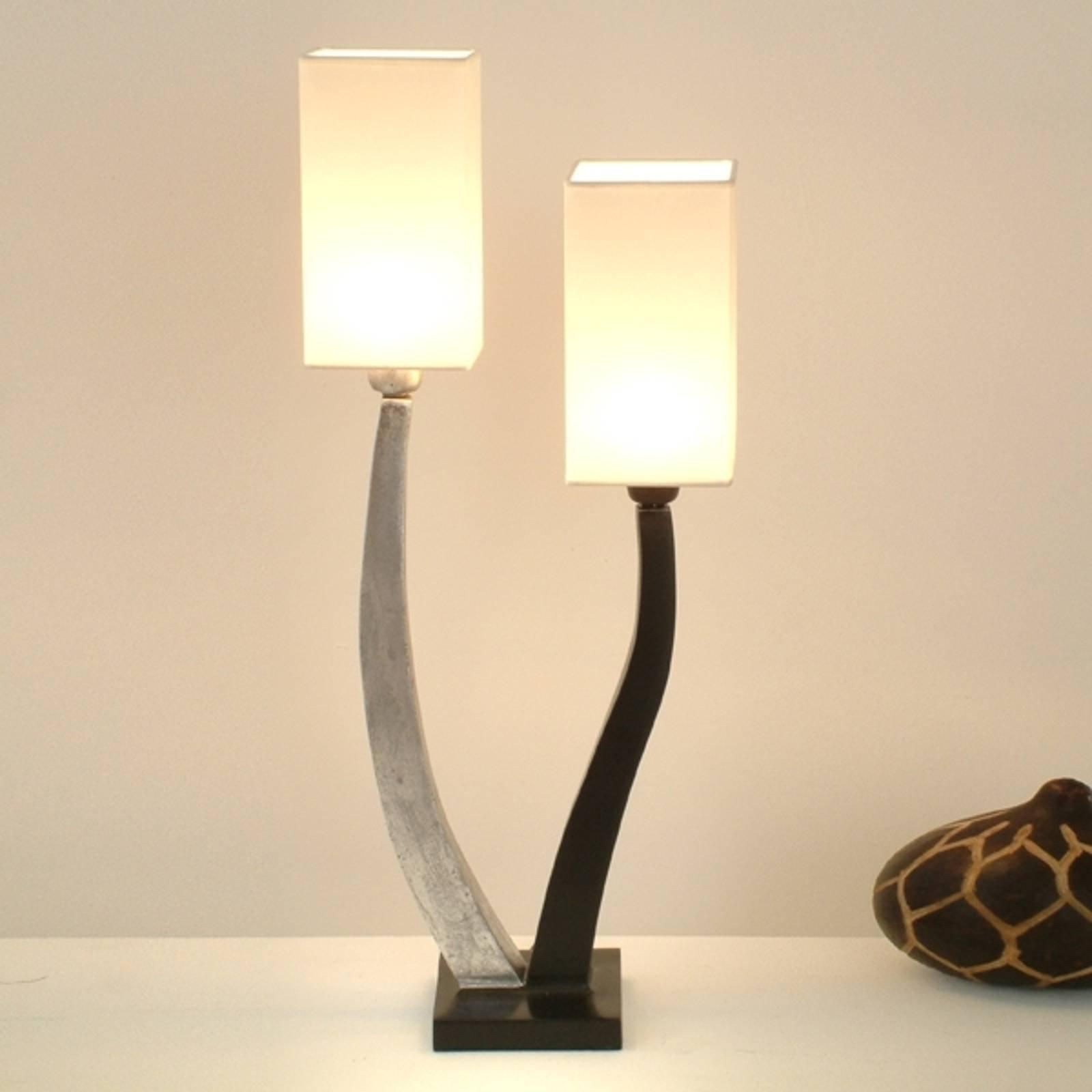 Elegant bordlampe QUADRANGOLARE - sølv med to lys