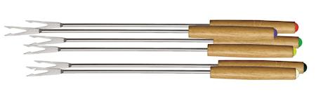 Fondue-gafflar, träskaft, 6-pack