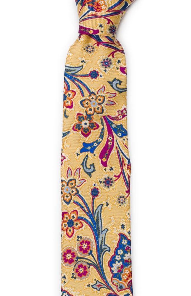 Silke Smale Slips, Surrealistiske, flerfargete blomster på gult