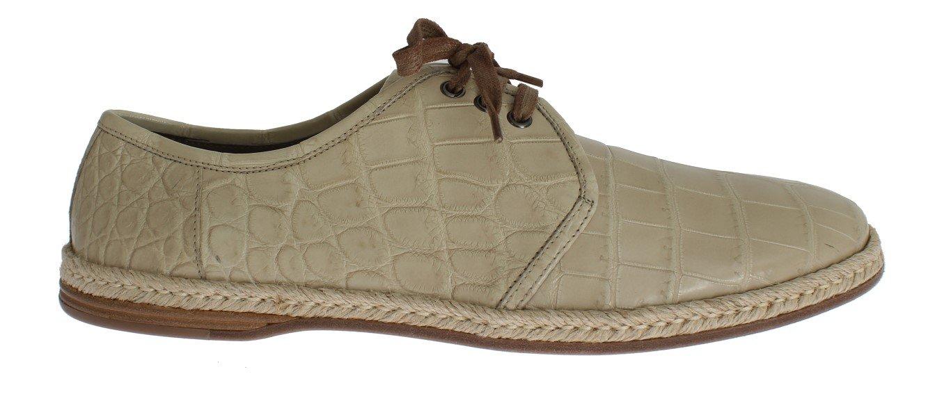 Dolce & Gabbana Women's Crocodile Skin Laceups Shoes Beige SIG18277-2 - EU43/US10