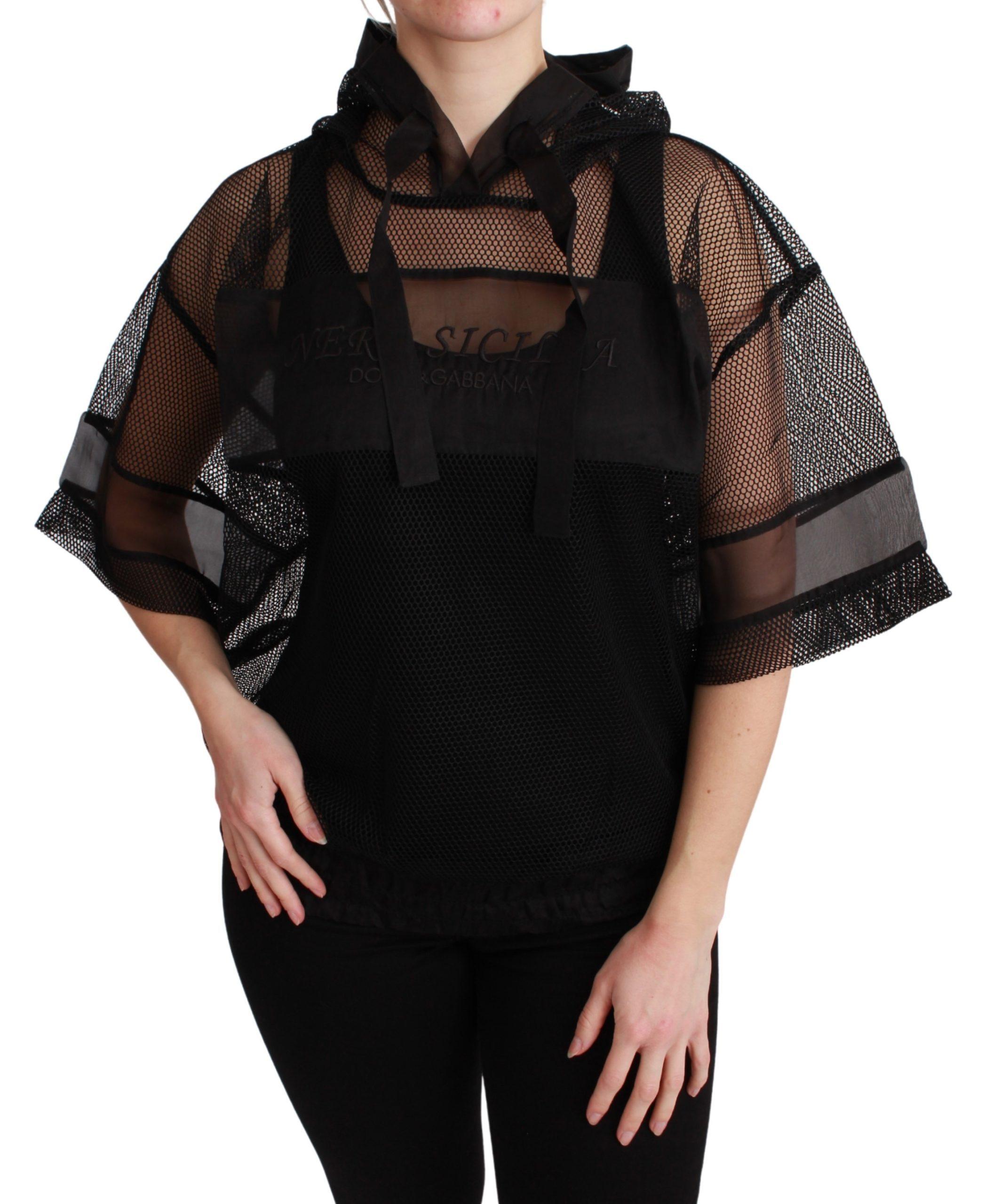 Dolce & Gabbana Women's Sheer Nero Sicilia T-Shirt Black TSH4573 - IT36 | XS