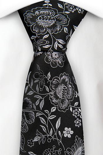 Silke Slips, Sølvfargede blomster på en svart base, Svart, Blomster og blader
