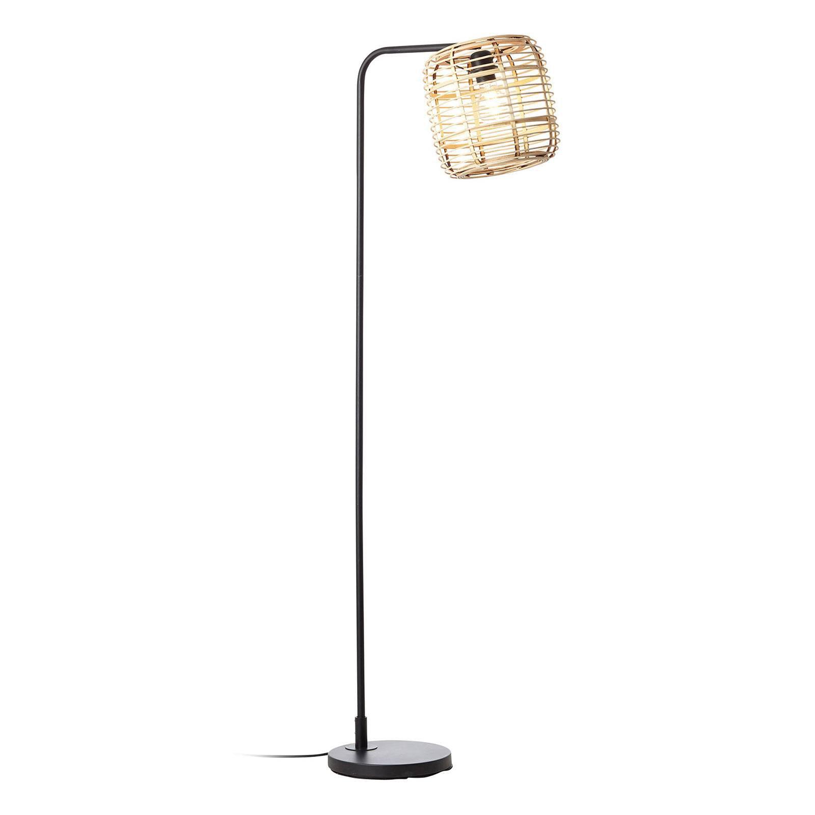 Gulvlampe Crosstown svart, bambusskjerm lys